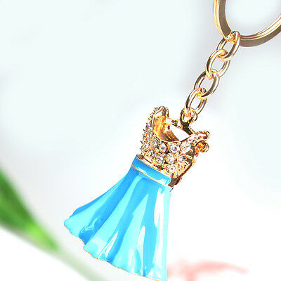 Blue Dress Clothes Skirt New Fashion Crystal Pendent Charm Key Chain Ring Gift