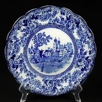 """Antique Colonial Pottery Works Flow Blue Transfer Winkle & White 9.75"""" Plate"""