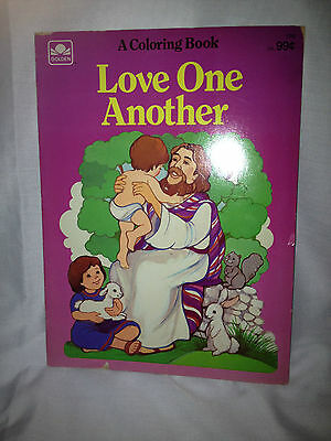 Vintage 1986 Golden Love One Another Coloring Book Bible Jesus
