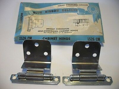 "Vintage NOS CHROME Semi-Concealed Cabinet HINGES for 3/4"" Thick Flush Doors"