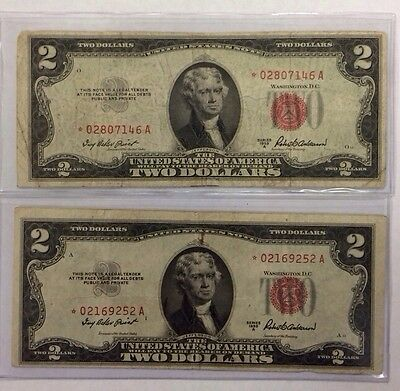2 1953 A $2 Dollar Bill *star * Red Seal United States Legal Tender Note