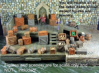 40 Painted Crates, Barrels from Hirst Arts Dock-Works with Dwarven Forge and D&D