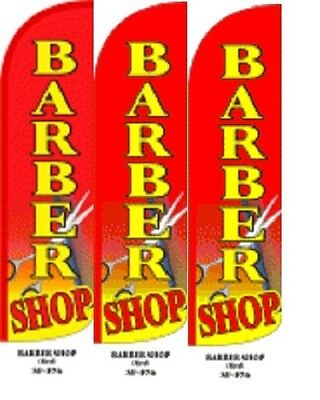 Barber Shop (Red) King Size Windless 38 x 138 in Polyester Swooper Flag pk of 3