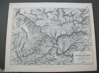 Original 1855 Alison Military Map - Part Of Pyrenees To Illustrate 1813 Campaign