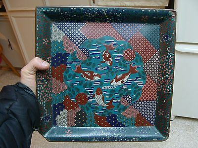 RARE! ANTIQUE CLOISONNE AESTHETIC KOI FISH JAPANESE OR CHINESE FOOTED PLATTER