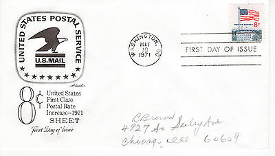 1971 REGULAR ISSUE 8 CENT FLAG OVER THE WHITE HOUSE ARTMASTER PENCIL ADDR  FDC