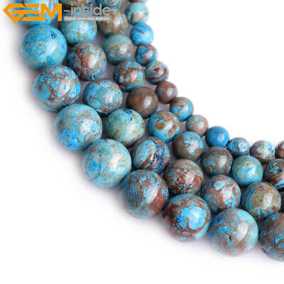 """Dyed Genuine Blue Crazy Lace Agate Stone Jewelry Making Loose Beads Strand 15"""""""