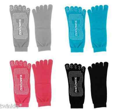Yoga Pilates Exercise Fitness Sports NonSlip 5 Toes Cotton Socks various colours