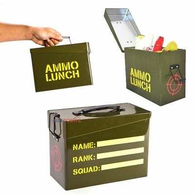 Ammo Lunchbox Military Style Metal Carry Case Tin  Army Can Lunch Box
