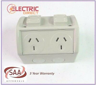 3  x Weatherproof Double GPO Power Point Outlet 10 Amp 10A