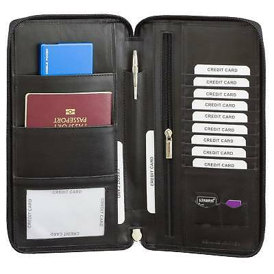 ✅ RFID Blocking Travel Leather Document Organiser Holiday Wallet Passport Holder