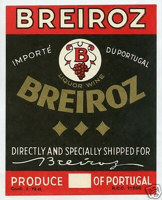 Vintage European Alcohol Liquor Wine Label Original Old Antique Breiroz Portugal