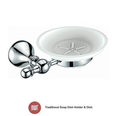 Traditional Chrome & Glass Soap Dish Holder And Dish - NWT Bathroom Accessories