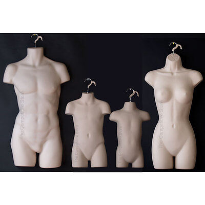 Flesh Tone Female Dress Male Child Toddler - 4 Mannequin Display Body Forms