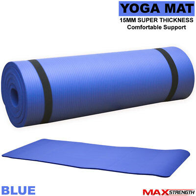 Yoga Fitness Exercise Gym Mat Non Slip PVC 6mm Thick Mats Physio Pilates Case