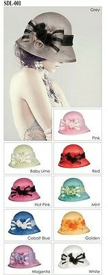 New Woman Church Derby Wedding Sinamay Ascot Cloche Dress Hat 10 Colors SDL-001