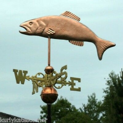 """Large Copper """"trout """" Weathervane Made In Usa #153"""