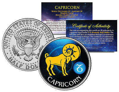 CAPRICORN Horoscope Astrology Zodiac Kennedy US Colorized Half Dollar Coin