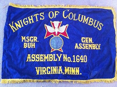 "Vintage Large Knights Of Columbus Flag Virginia MN 1950's 52-1/2"" x 32"""