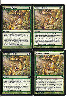mtg Magic 4x Time of Need  ( Tiempos dificiles )  Spanish Excellent