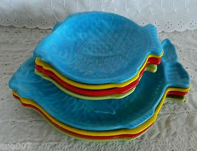 VTG Lot of 8 Holland Mold Fish Plates Pottery Dinner Salad Red Yellow Blue Green