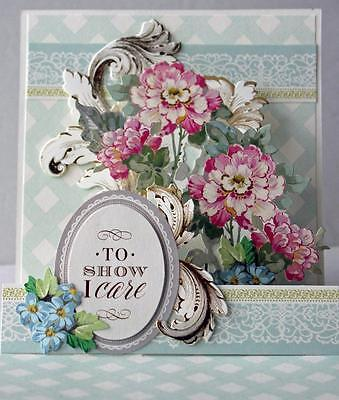 LOVE AND SYMPATHY POP UP 3D FLORAL HANDMADE GREETING CARD ANNA GRIFFIN STYLE