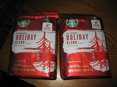 STARBUCKS HOLIDAY BLEND 2014 GROUND COFFEE 18 OZ LOT/2 FREE SHIP!