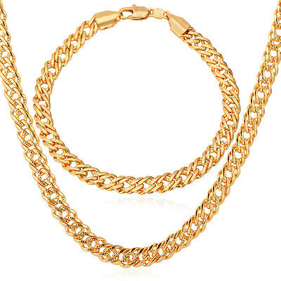Curb Chain 18K Gold Plated Men Classic Gold Plated Necklace Bracelet Jewelry Set