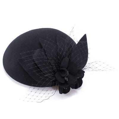 Womens Ladies Socialite Flower Black Pearl Wool Felt Fascinator Pillbox Tilt Hat