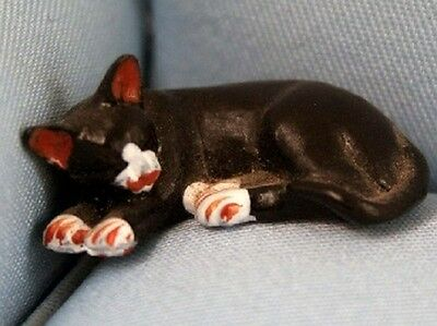 Black Cat White Nose, Lazy Cat. Miniatures Dolls Houses Pets & Animals Kitty Kat
