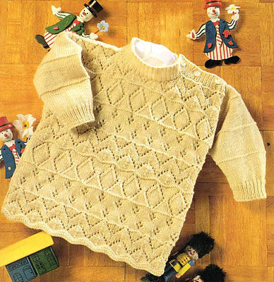 "Baby Children Girl's Sweater 18 - 24"" Eyelet  Diamond Pattern - 4 Ply To Knit"