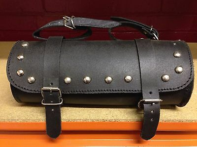 Black Leather Studded Tool Bag / Tool Roll Motorcycle Motorbike Paniers Luggage