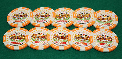 $10,000 Pro Vegas Casino Chips Super High Quality Poker Chips 11.5 Grams QTY: 10