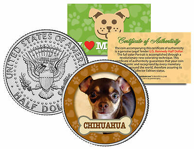 CHIHUAHUA Dog JFK Kennedy Half Dollar US Colorized Coin