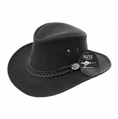 mens leather hat cowboy australian bush stetson black brown
