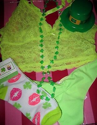 5d30728d03918 NWT VS ST Patrick s Day Yellow Stretch Lace Thong   Party Ki -One ...