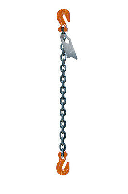 "Chain Sling - 3/8"" x 6' Single Leg with Grab Hooks - Grade 100"