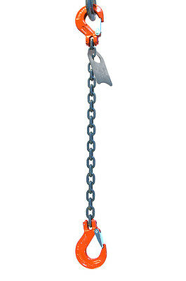 "Chain Sling - 1/2"" x 10' Single Leg with Sling Hooks - Grade 100"