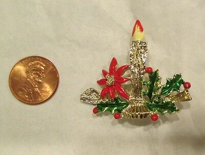VINTAGE 70's ERA GOLD CHRISTMAS CANDLE w ENAMEL HOLLY PIN BROOCH MARKED GERRY'S