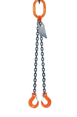 "Chain Sling - 9/32"" x 10' Double Leg with Sling Hooks - Grade 100"