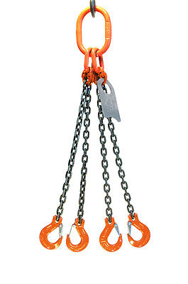 "Chain Sling - 3/8"" x 10' Quad Leg with Sling Hooks - Grade 100"
