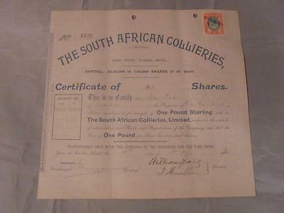 ORIGINAL 1920 SOUTH AFRICAN COLLIERIES LTD. 100 SHARES CERTIFICATE,CAPE TOWN  #2