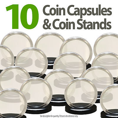 10 Coin Capsules & 10 Coin Stands for QUARTERS Direct Fit Airtight 24mm Holders