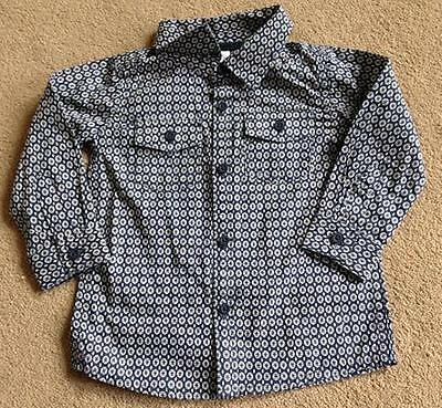 BNWT F&F Blue & White Print Long Sleeved Cotton Shirt 9-12 Months