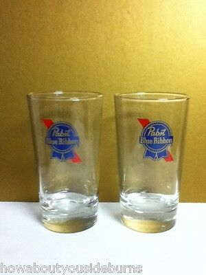 WQS5 PABST BLUE RIBBON PBR NOS COLLINS 8 OZ. CHASER STYLE BEER GLASS (2) GLASSES