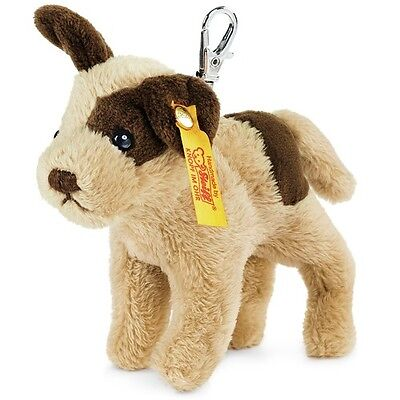 STEIFF Strolch Dog Keyring EAN 112362 10cm Beige brown Handbag charm plush NEW