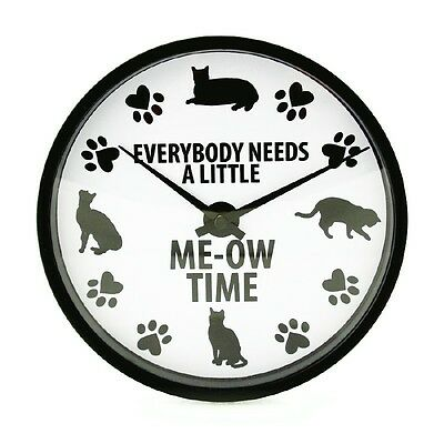 Cat Kitty Everybody Needs Meow Time Our Name is Mud 8 In Round Room Wall Clock