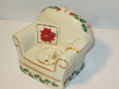 Lenox Miniature Holly and Berry Holiday Home Chair Ornament
