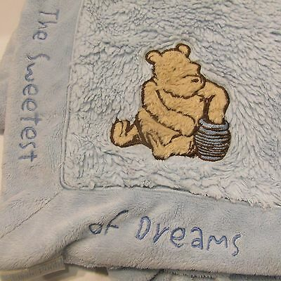 Classic Winnie the Pooh Baby Blanket The Sweetest of Dreams Blue Plush