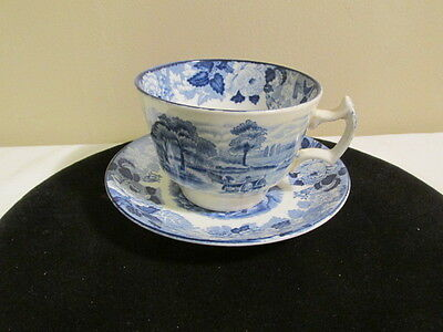Antique Enoch Wood's English Scenery Woods Ware Coffee Cup & Saucer Set VFC